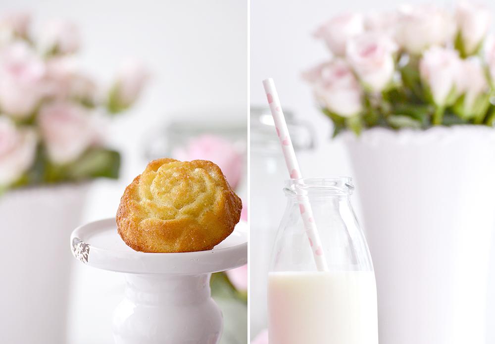 Rosenkuchen mit Glas Milch