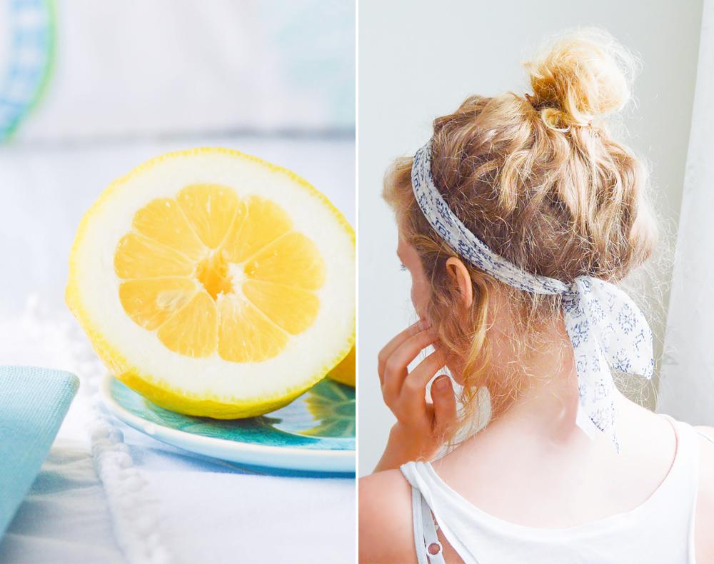 Zitrone Mädchen mit blauem Haarband