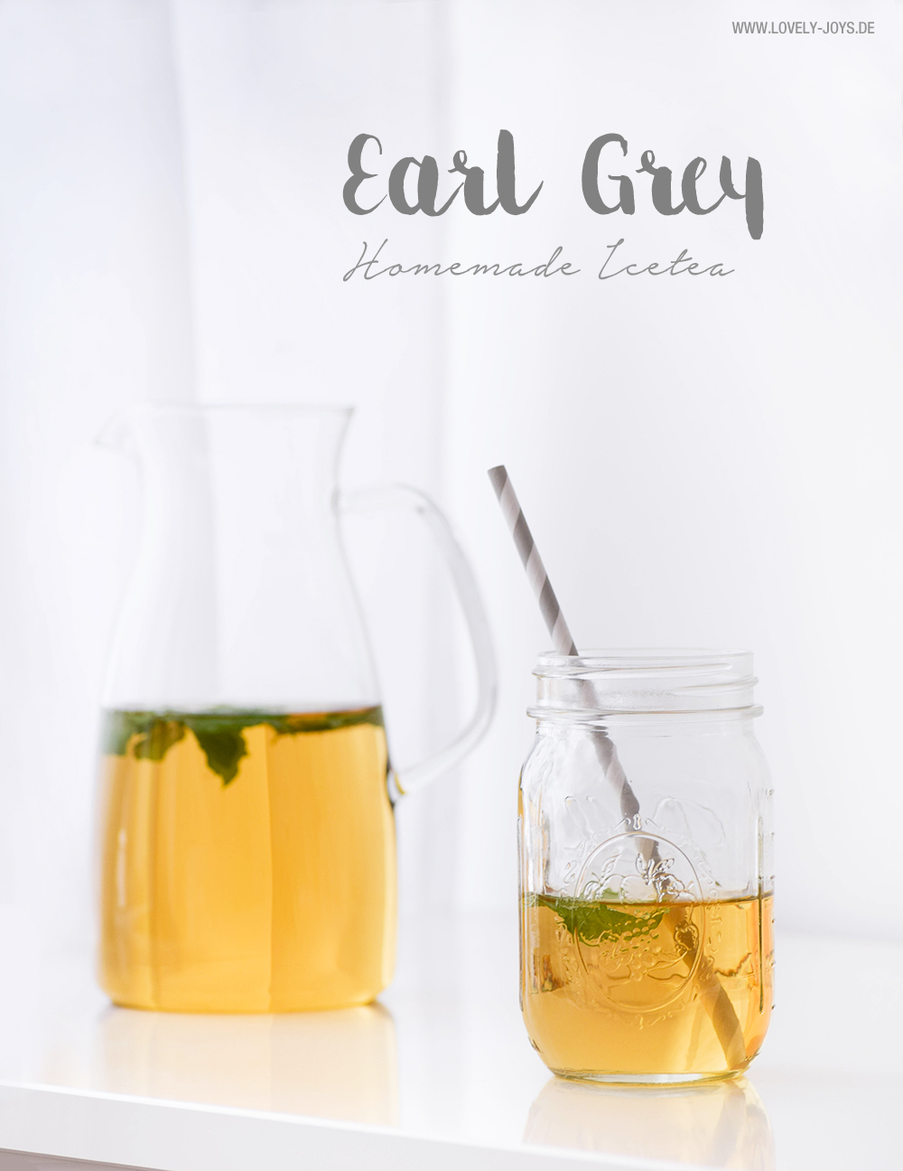 Rezept Eistee selber machen Earl Grey Limette Minze Holunder