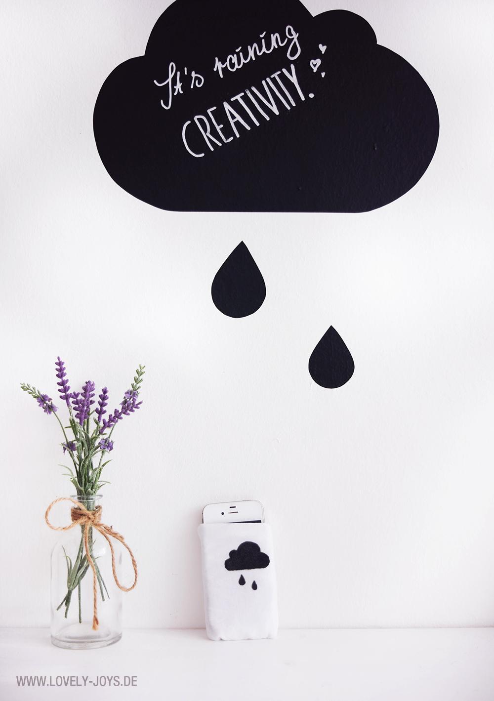 Nähen Anleitung Anfänger Smartphone Hülle Wolke beschriften