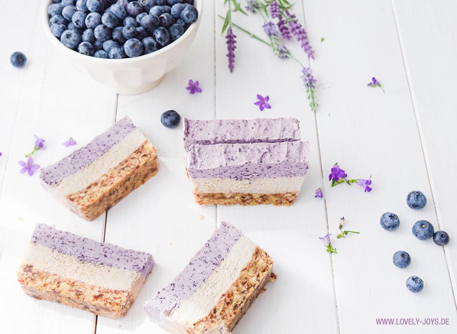 Blaubeeren Mandeln Kokosöl Kuchen Rezept ohne Backen glutenfrei vegan no bake