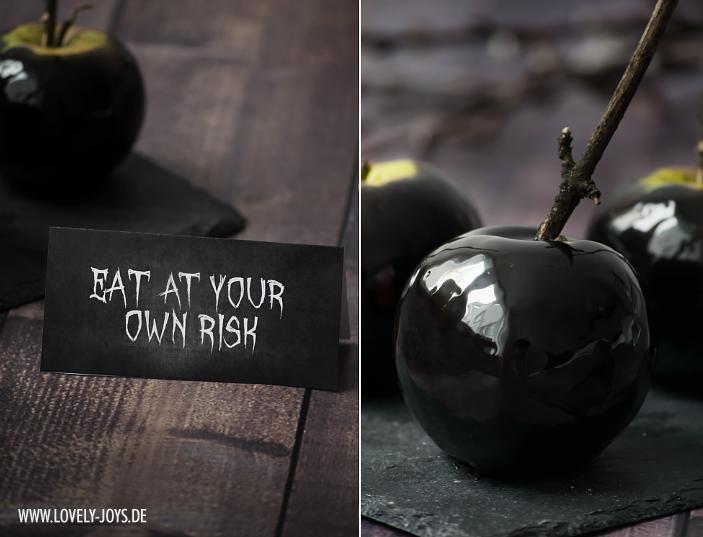 Schwarze glasierte Äpfel Halloween Rezept