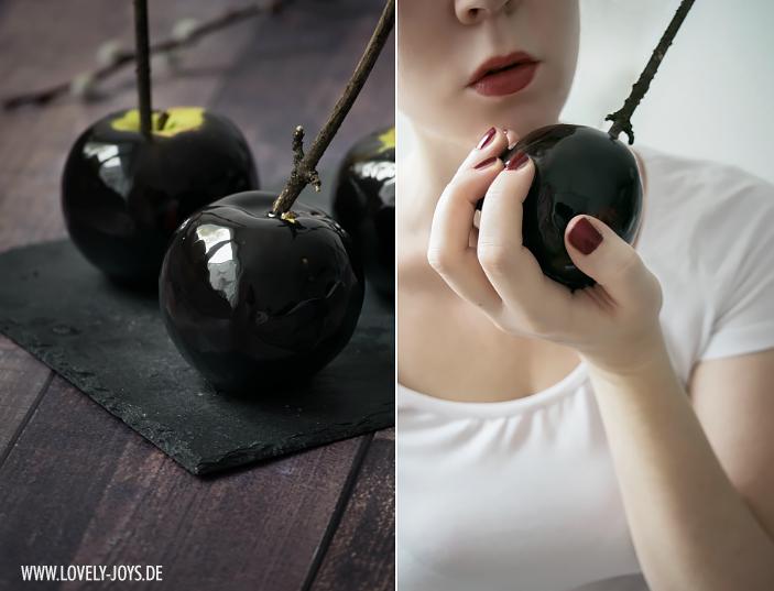 Schwarze Schneewittchen Äpfel glänzend Halloween Rezept Idee