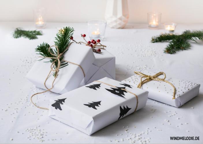 DIY Geschenkverpackungsideen Tannenzweige