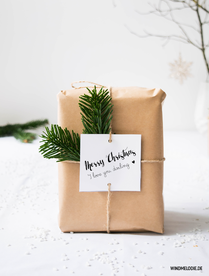 DIY Geschenkverpackung Ideen Packpapier Tannenzweige