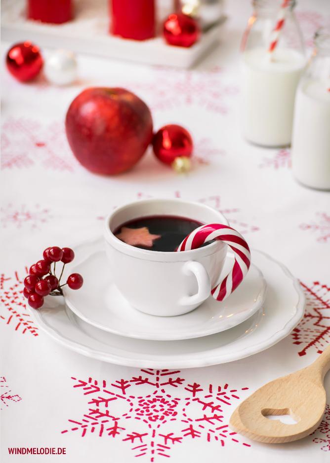 Rot Weihnachten Deko Tisch Glühwein Rezept