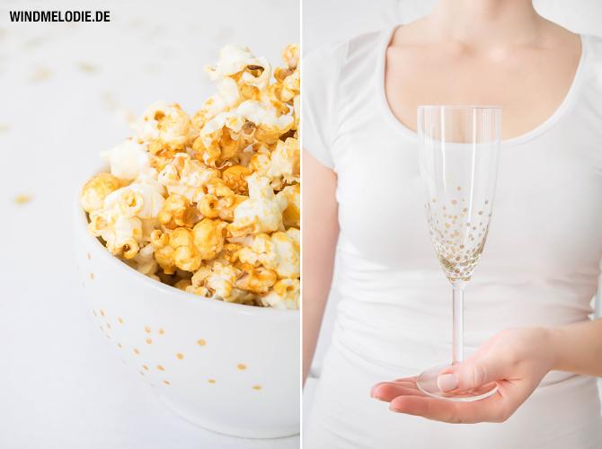 Popcorn Rezept Honig Kokosöl Sektgläser Gold bemalen