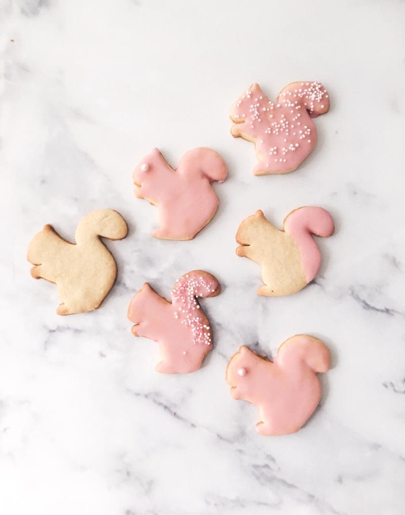 Rosa Weihnachtsplätzchen Butterteig Eichhörnchen Ausstecher Zuckerguss