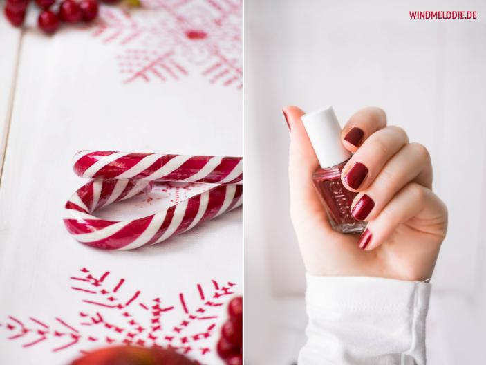 Rot Weihnachten Deko Zuckerstangen essie nagellack