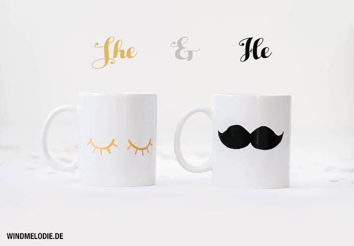 Tassen bemalen gold Wimpern Schnurbart Moustache
