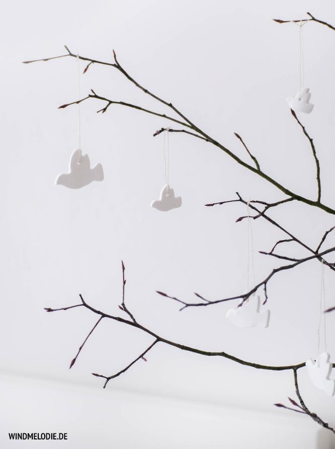 Vogel Anhänger basteln aus Fimo mit Ausstecher