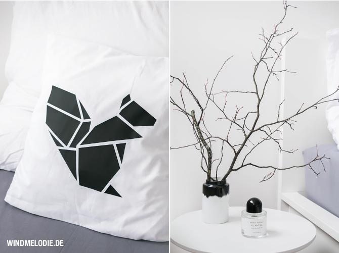 Ast Dekoration minimalistisch Eichhörnchen Kissen Origami