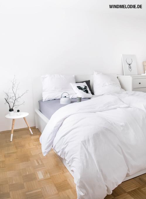 Schlafzimmer minimalistisch weiß skandinavisch