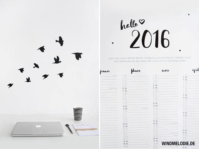 Jahreskalender minimalistisch Vögel Wandtattoo schwarz weiss
