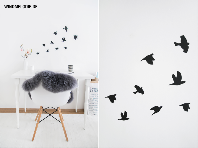 Vögel Wandtattoo schwarz Vogelschwarm Charles Eames Vitra Stuhl