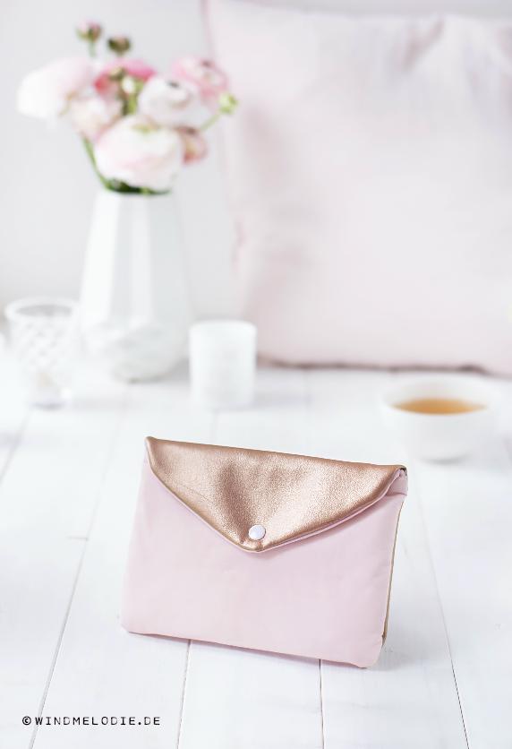 Mini Clutch Kupfer Rosegold Rosa DIY Nähen