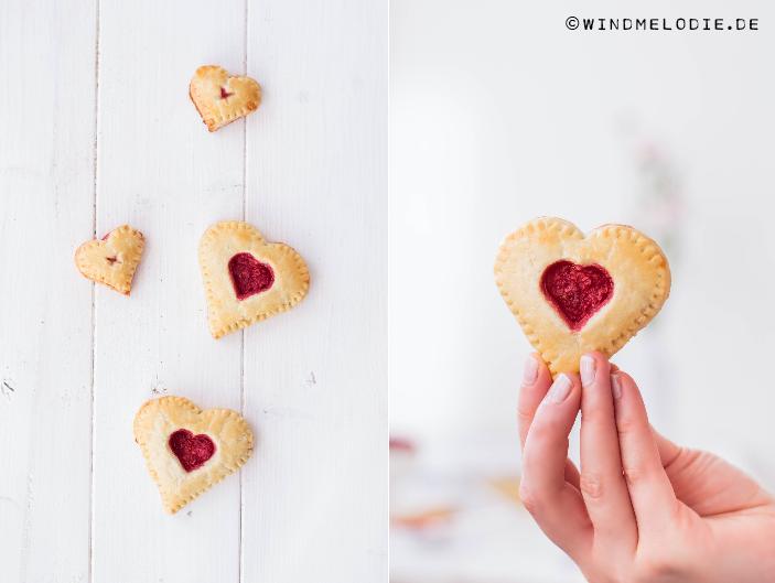 Mini Heart Pies mit Himbeeren Valentinstag Rezept