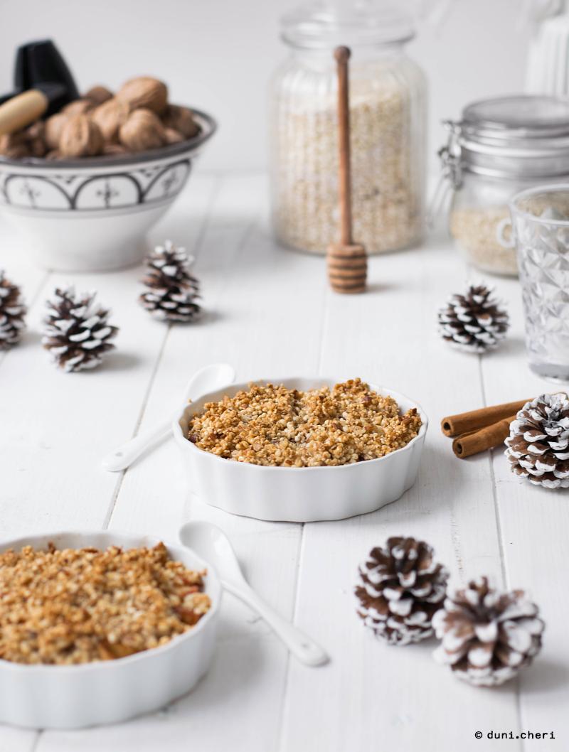 Apple Crumble Kokosöl Quinoa Vegan gesund Rezept low carb