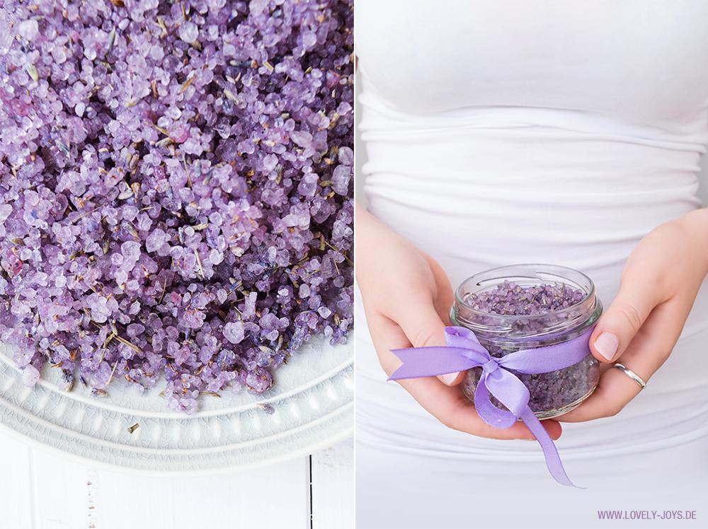 Badesalz Lavendel selber herstellen DIY Geschenkidee