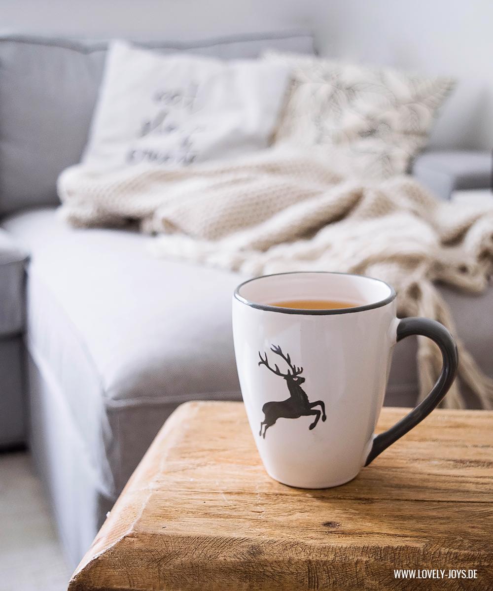 tee tasse grau weiß hirsch herbst rustikal skandinavisch