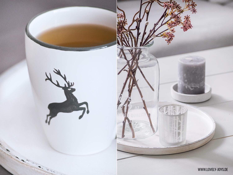 Teetasse grau Hirsch Herbst Dekoration Wohnzimmer