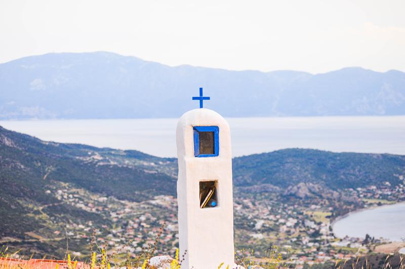 Griechenland Kreuz Blau am Meer