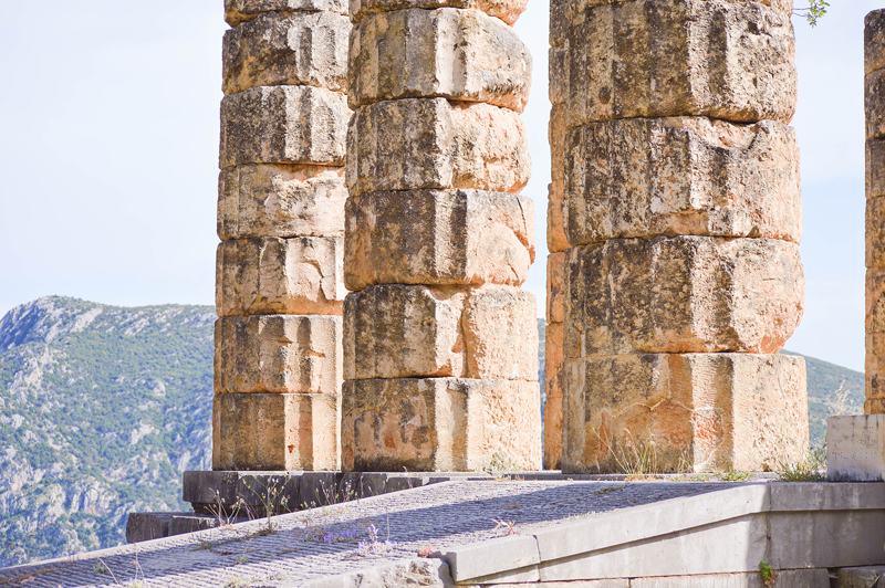 Ruinen Delphi Griechenland Säulen
