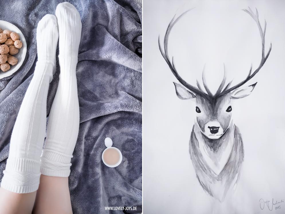 Weiße Overknee Strümpfe Hirsch Wasserfarben Zeichnung