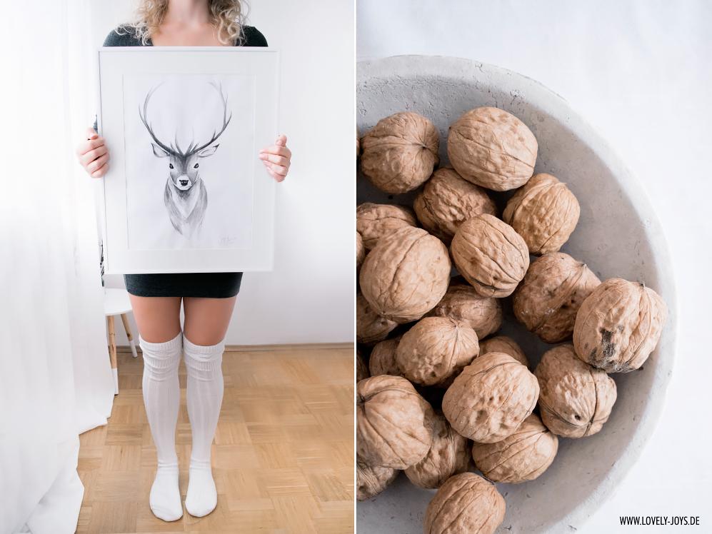 Hirsch Wasserfarbenbild nordisch skandinavisch design Walnüsse