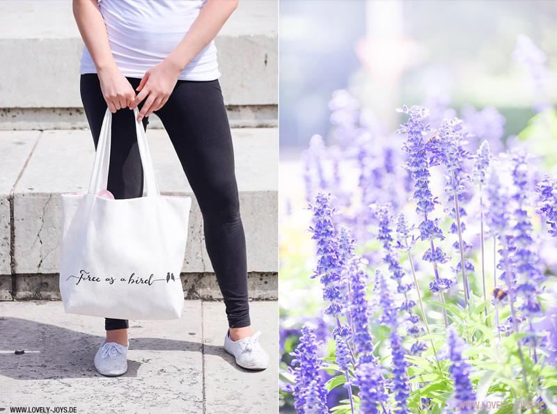 Frau Park Tasche Jutebeutel Lavendel Blumen