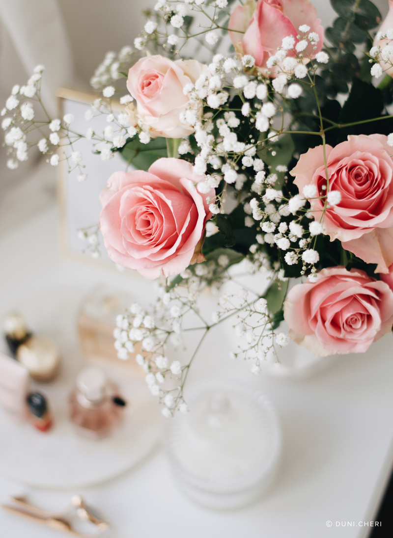 nachtisch rosen kerze