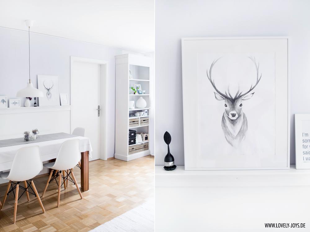Nordisch Skandinavisch Einrichtung Design Esszimmer Vitra Stühle weiß Hirsch Wasserfarben Bild