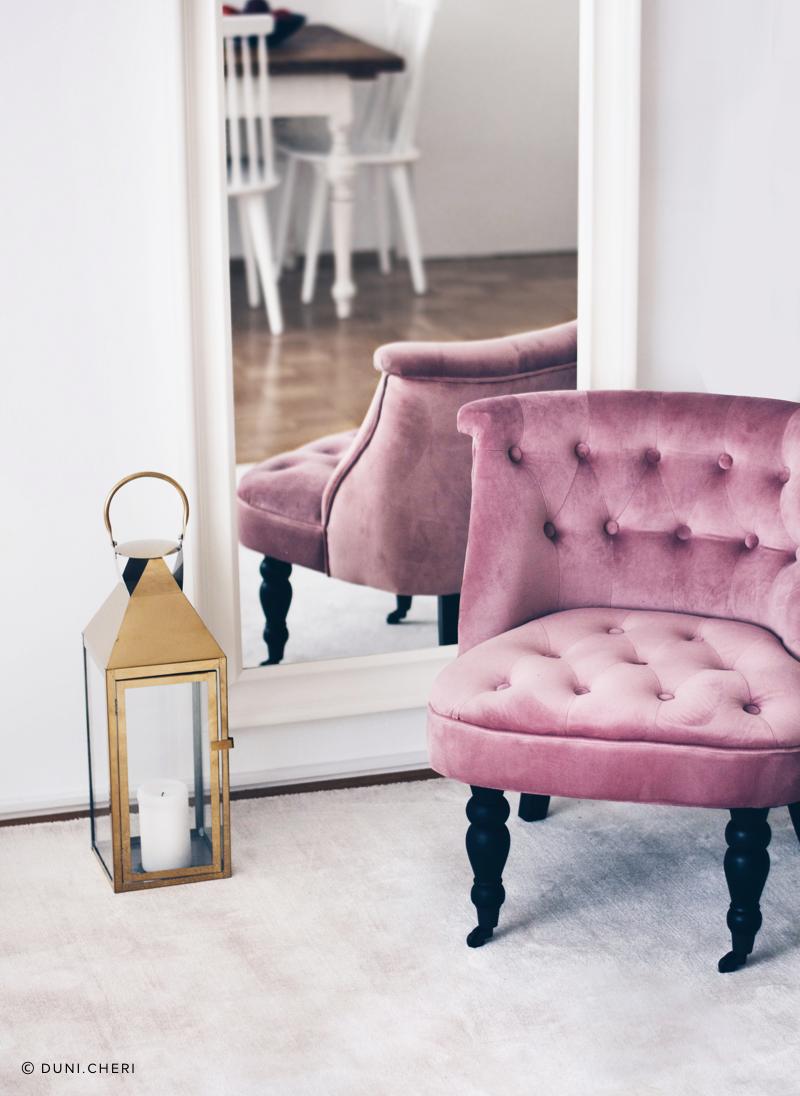 samt sessel pink wohnzimmer