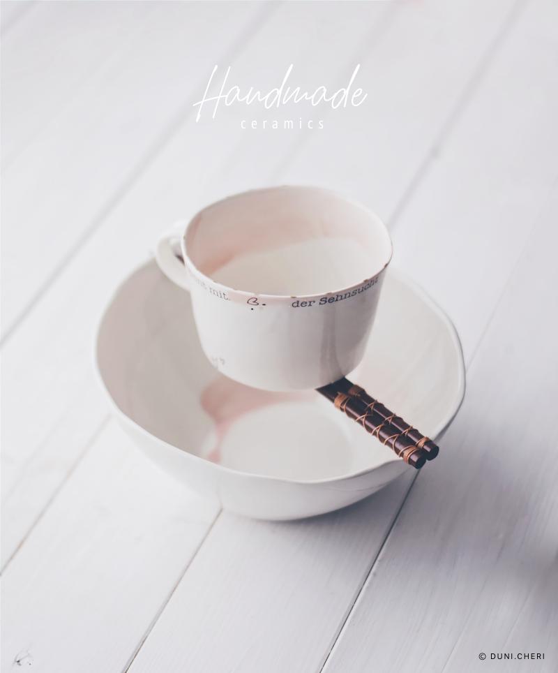 handgemachte keramik rosa tasse