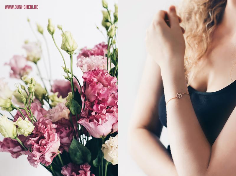 blumen armband rosegold