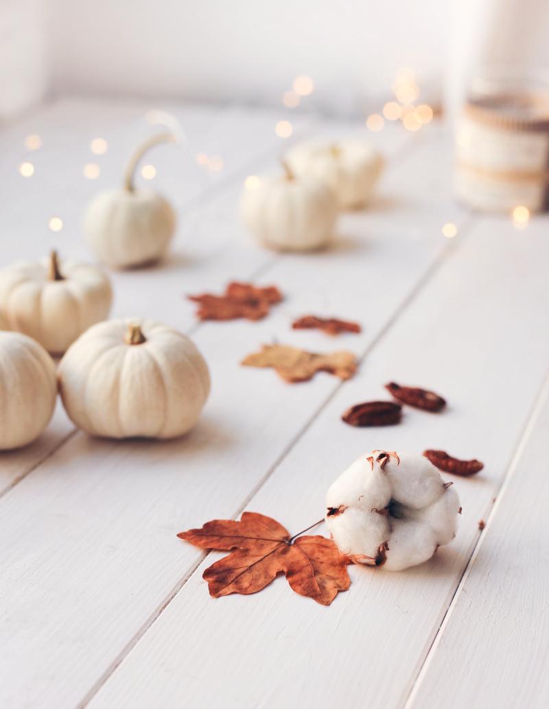 Herbst Tischdeko weiß