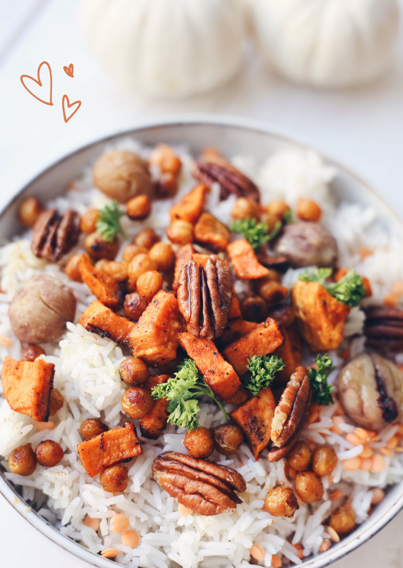 Reis Kürbis Herbst Salat vegan Rezept