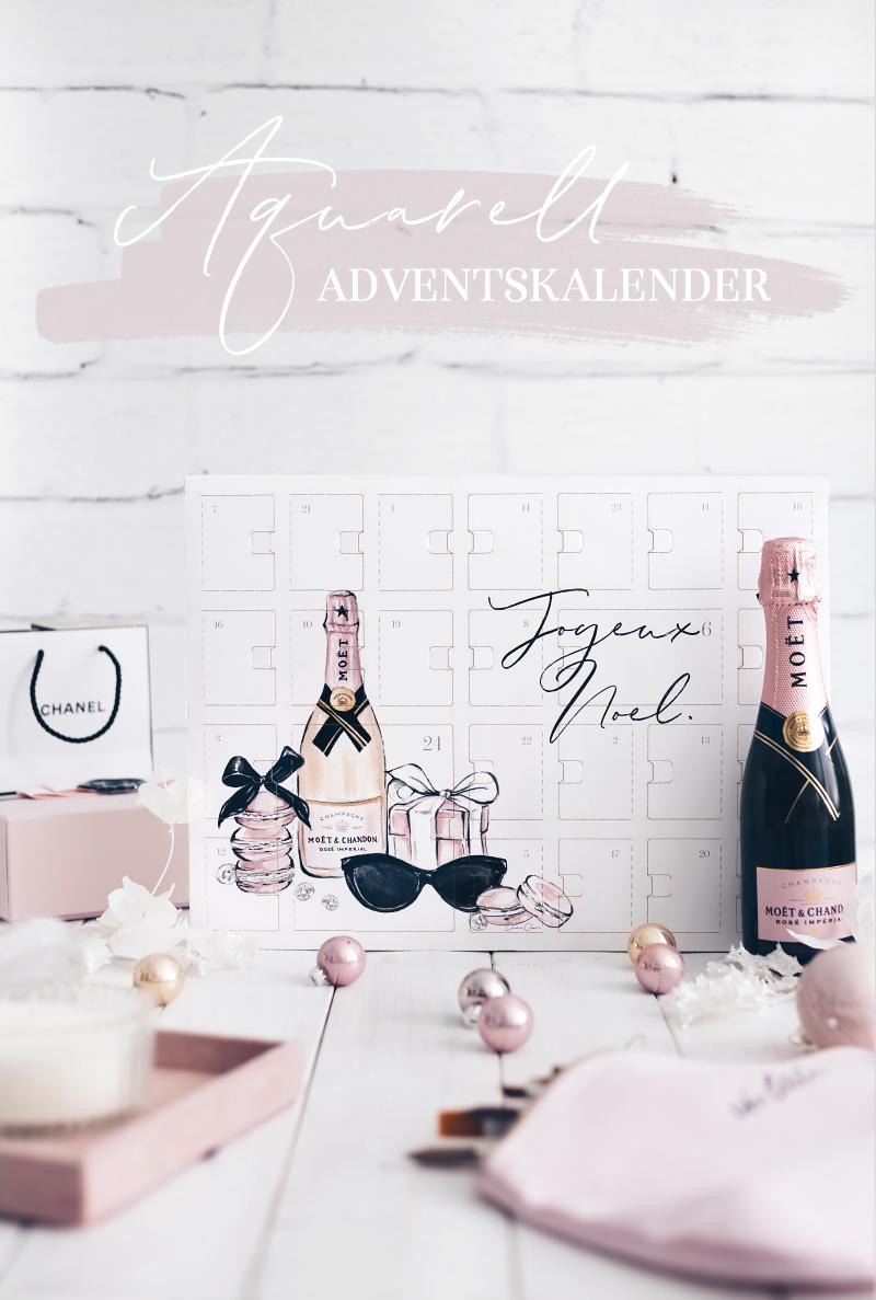 aquarell adventskalender champagner rosa
