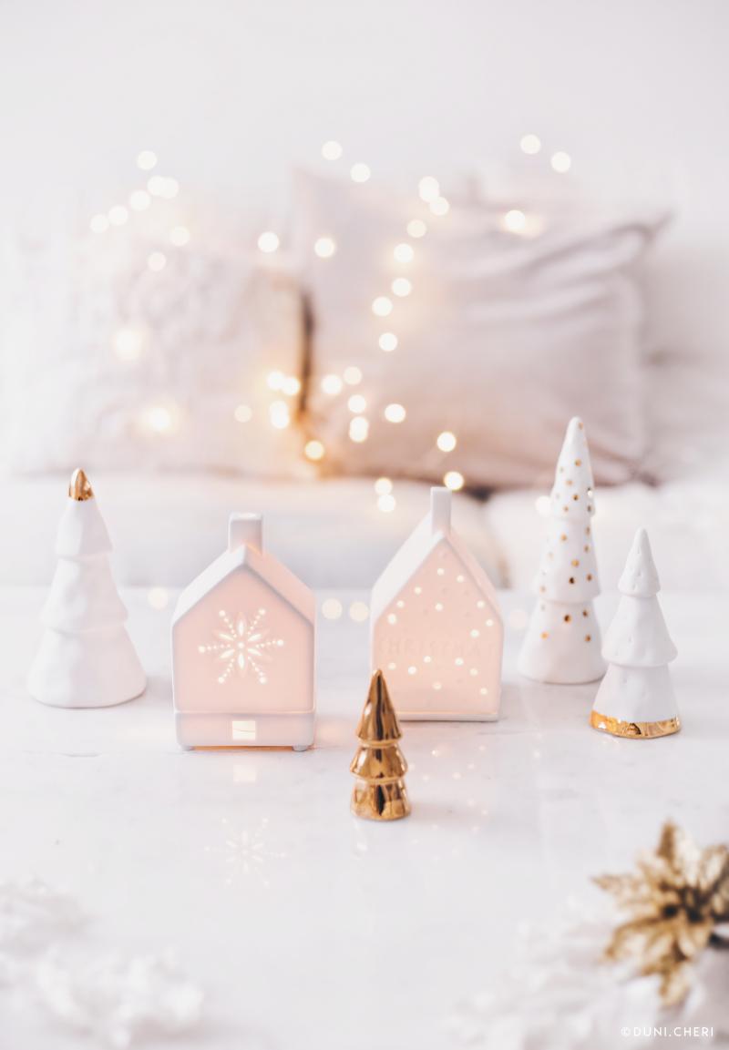 weihnachten deko weiss gold lichter