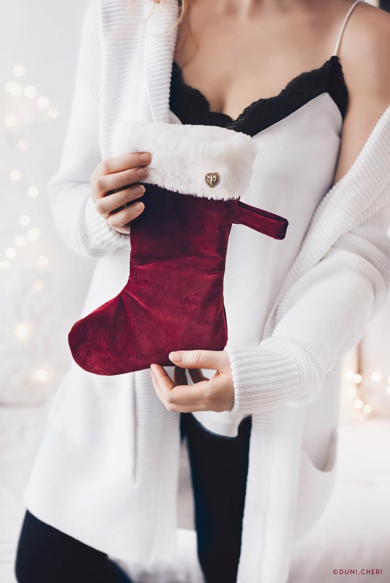 weihnachten strumpf rot samt nikolaus diy selber nähen