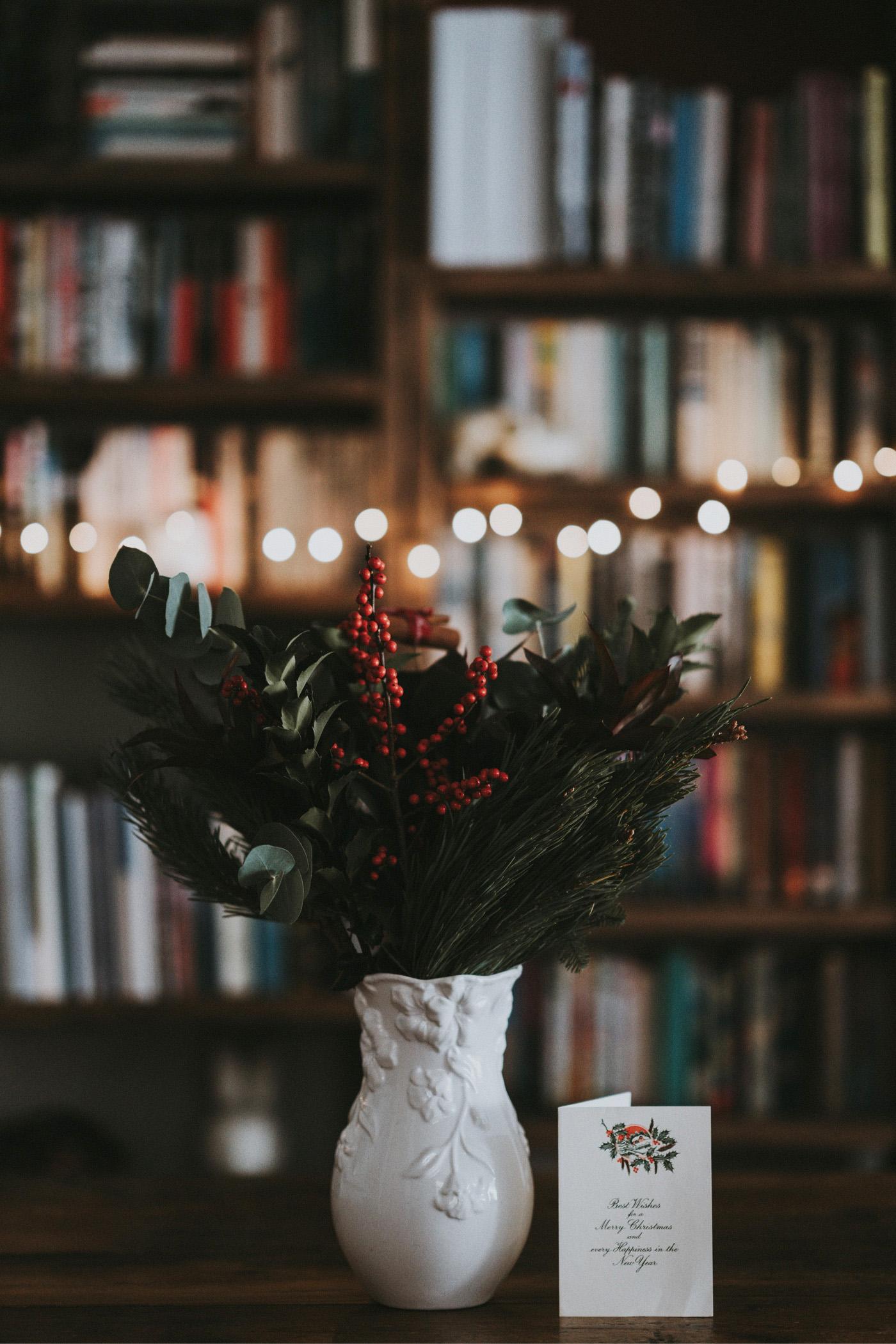 weihnachten vase bokeh effekt