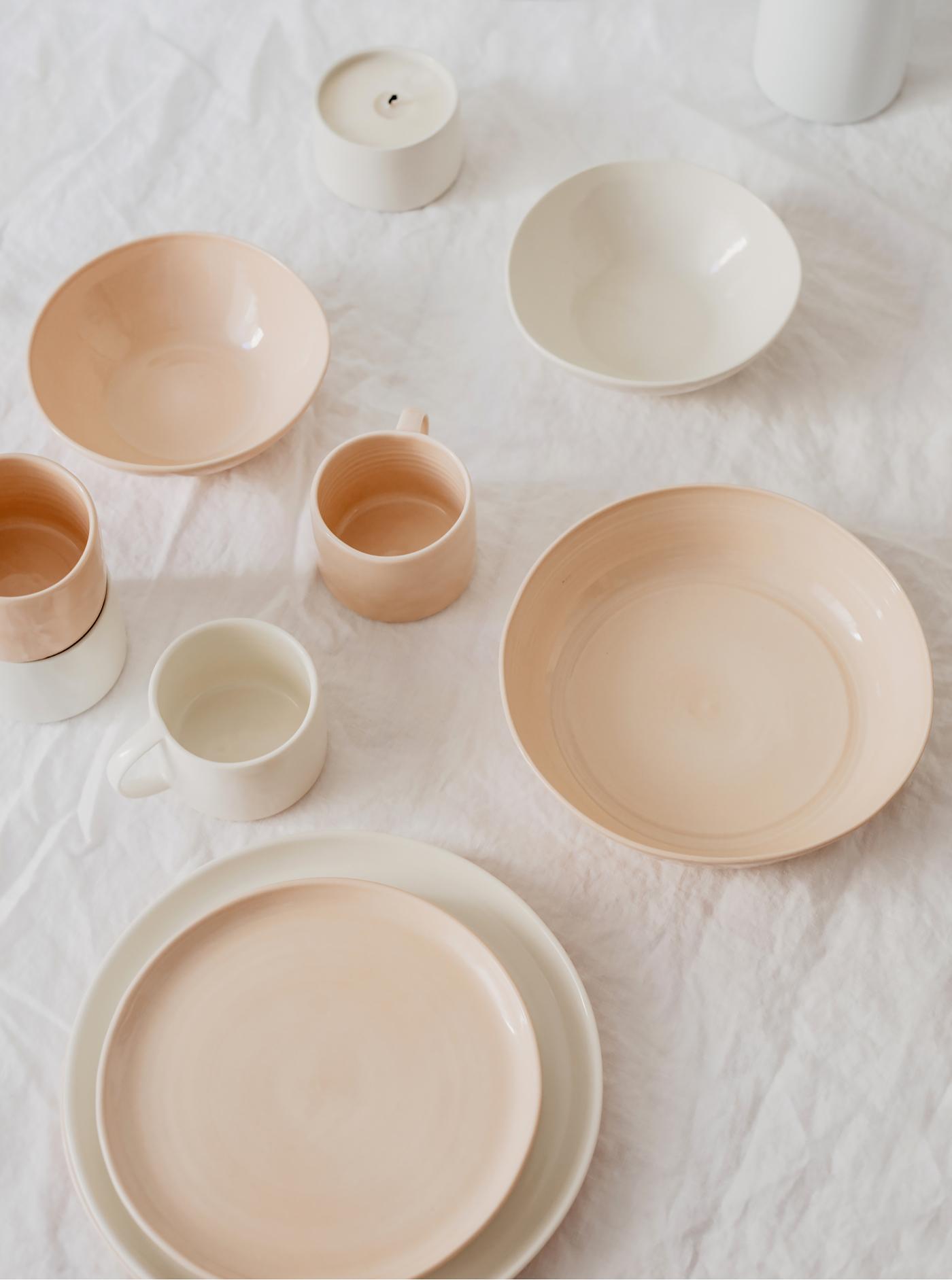 handgemachte keramik rosa weiss schlicht