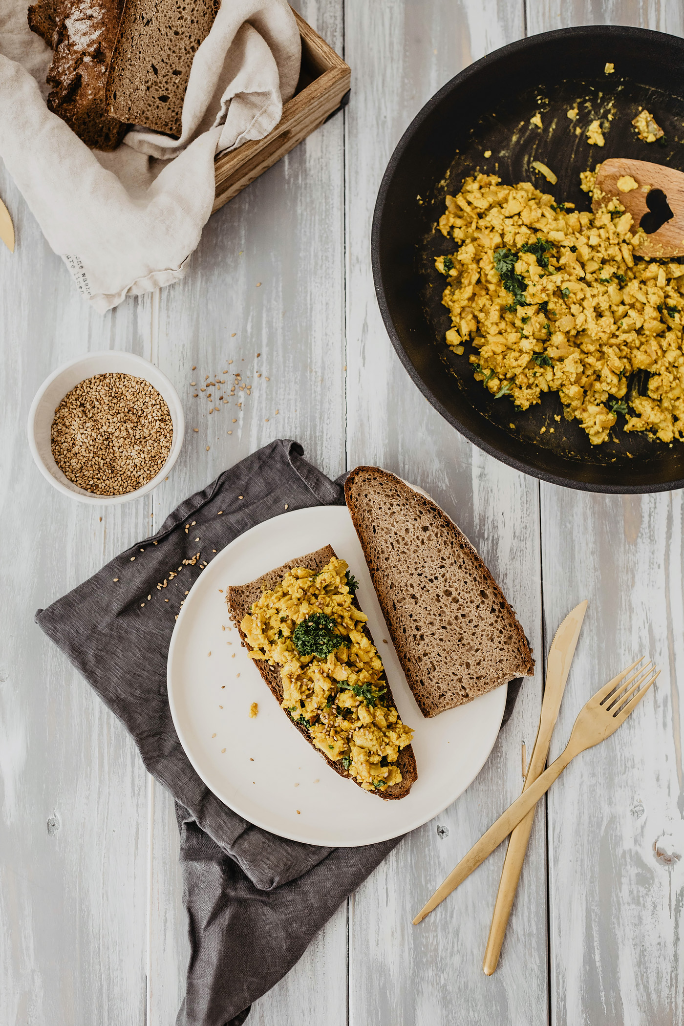 vegan rührei frühstück rezept